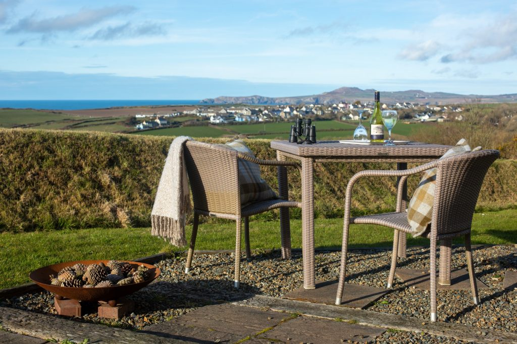 Yr Hafan- a glass of wine and Sea views from Pencaer Cottage Patio