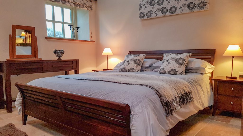 Abercastle Barn Suite B&B room with sea and garden views towards Strumble Head