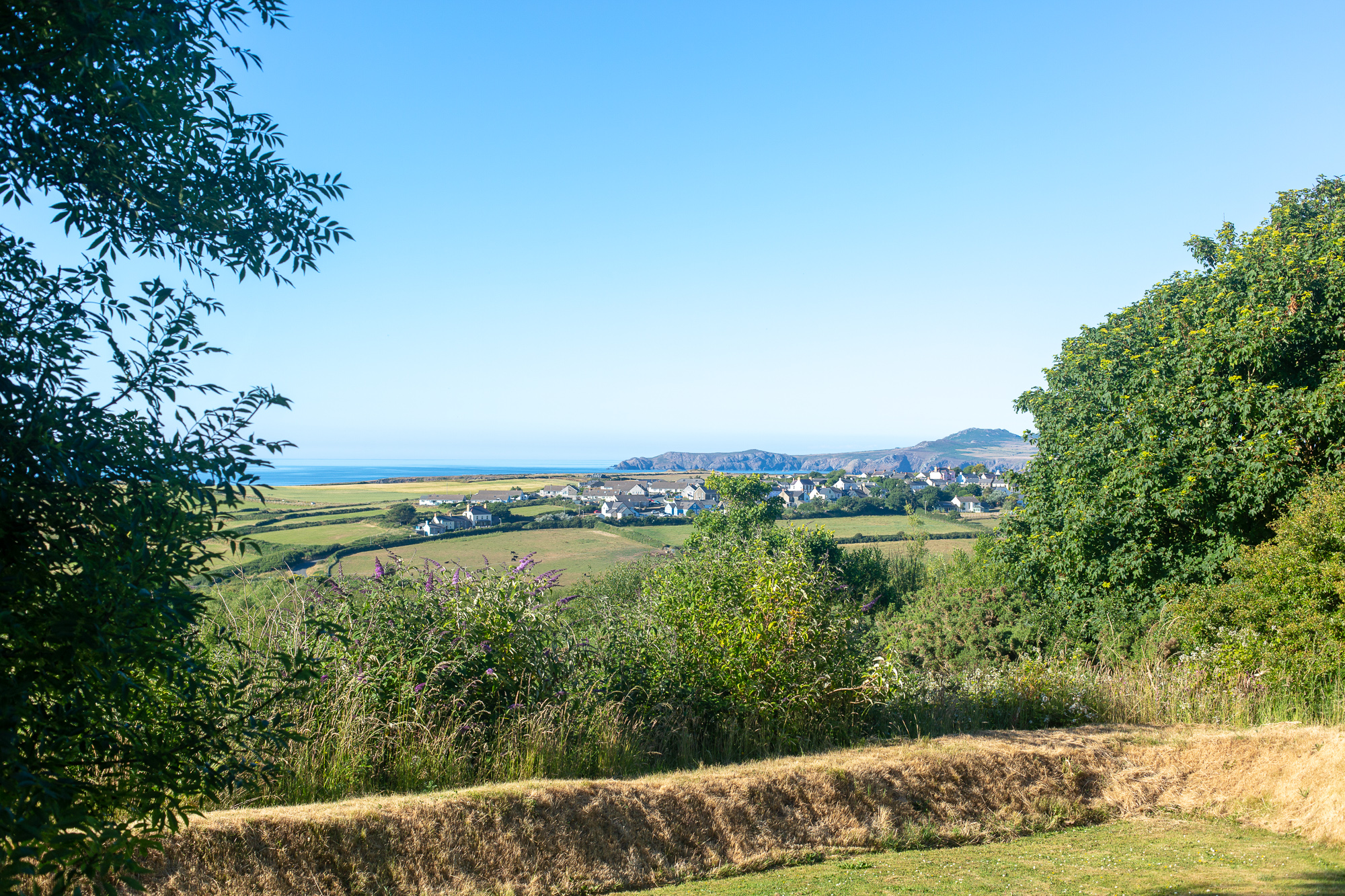 Yr Hafan landscaped gardens and sea views towards Struble Head