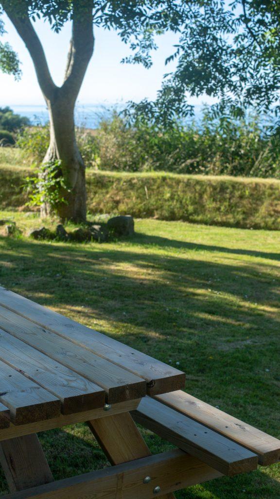 Yr Hafan bench seat with sea views towards Strumble Head