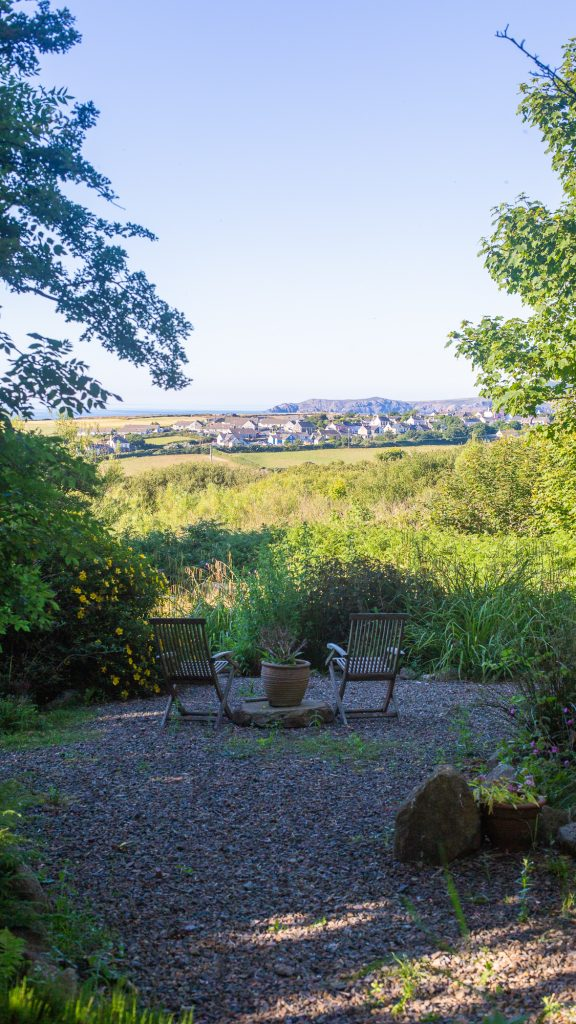 Yr Hafan sea views from garden towards Trefin and Strumble Head within Pembrokeshire National Park