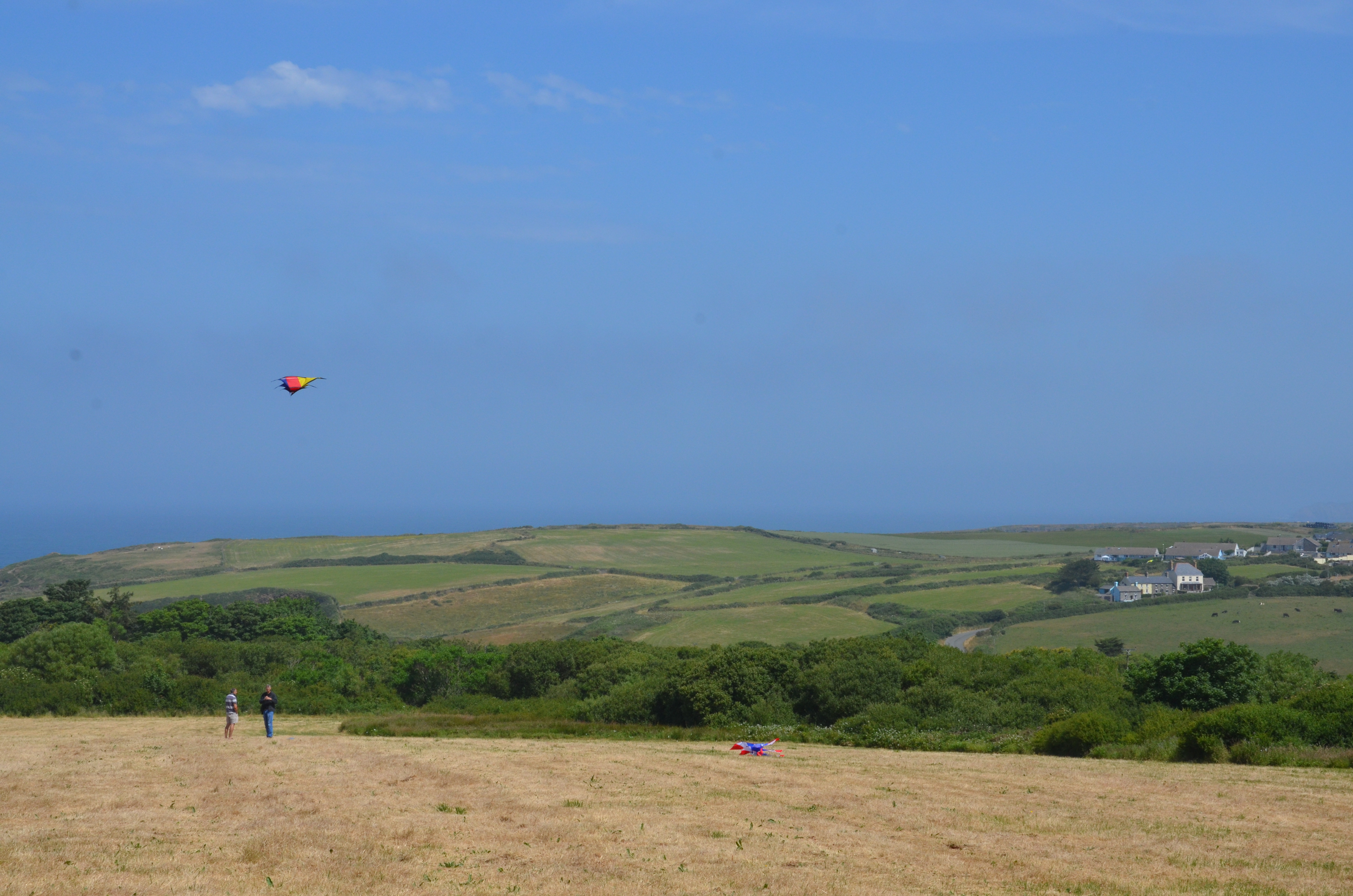 Yr Hafan - Kite flying in our field overlooking the sea and Trefin
