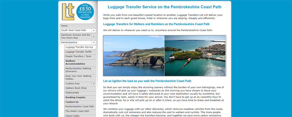 Luggage Transfer Service on the Pembrokeshire Coast Path